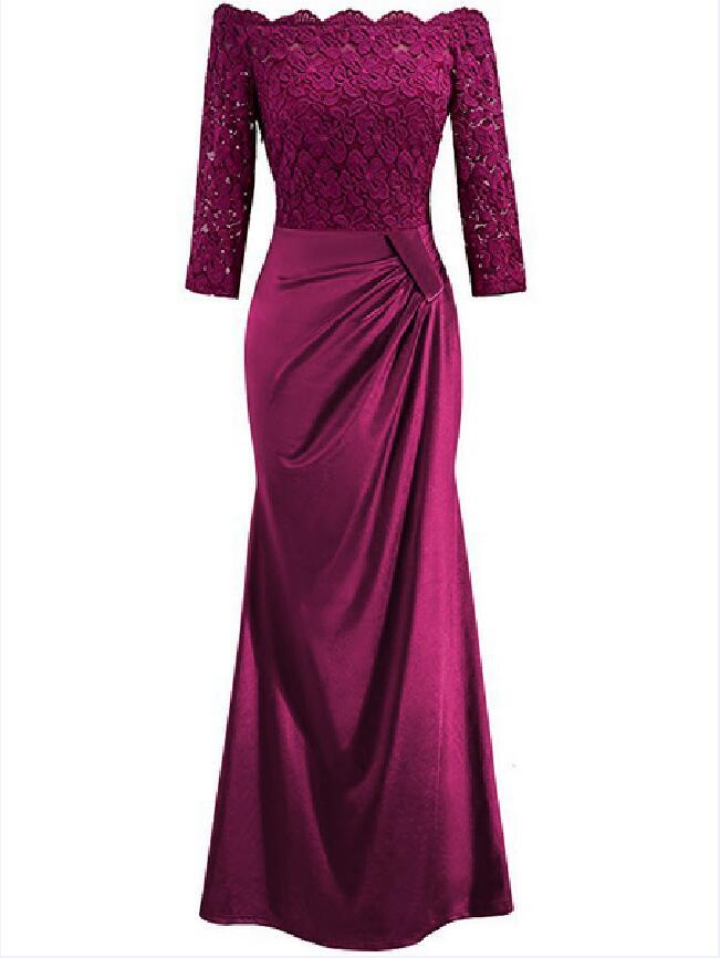 Robes de soirée pas cher mère de la mariée robes bateau neckSatin dentelle grande taille longue robe de soirée dos nu robe avec