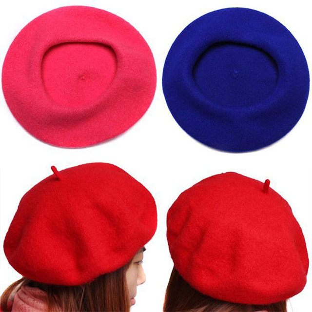 770a56ce5bb31 Women s Autumn Winter Soft Warm Wool Classic Berets Felt French Artist  Beanies Tam Baggy Hats Caps AQ654134-in Berets from Apparel Accessories on  ...