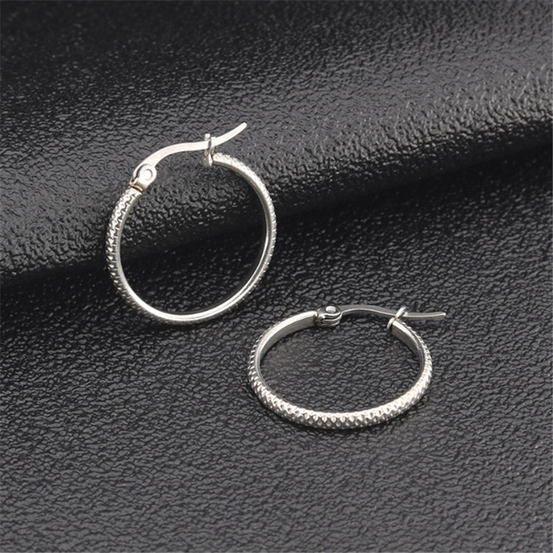 30mm Punk Trendy Rose Gold Silver Color Top quality Ear Clip For Women Men Stainless Steel Stud Earrings Fashion Jewelry Gifts in Stud Earrings from Jewelry Accessories