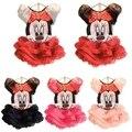 El envío Libre 2015 Nueva Ropa de Bebé Niñas Establece niñas Minnie Mouse camisetas + Falda Niños 2 unids Traje venta al por menor