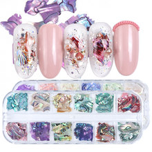 3D Irregular Abalone Seashell Slices Nail Sequins Mermaid Flakes Holographic Glitter Nail Art Decorations Polish Manicure TRB03(China)