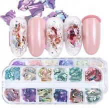 3D Onregelmatige Abalone Seashell Slices Nail Pailletten Mermaid Vlokken Holografische Glitter Nail Art Decoraties Polish Manicure TRB03