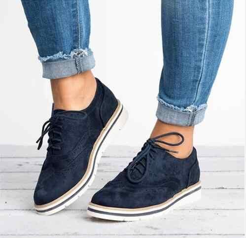 Yeni 2018 Kauçuk Brogue Ayakkabı Kadın Platformu Oxfords İngiliz Tarzı Sürüngen Cut-çıkışları Düz Rahat Kadın Ayakkabı 5 Renkler boyutu 35-43
