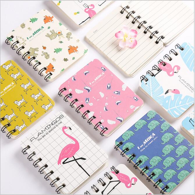 1PC Cute Animal Cartoon Coil Pocket Mini Notebook To Do It Note Small Dairy Weekly Planner Memo Notepad School Office Stationery
