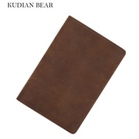 KUDIAN BEAR Leather Passport Cover Men Rfid Passport Holder Designer Travel Cover Case Credit Card Holder