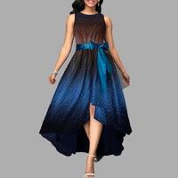 Oversized women sleeveless tie die print flowy dress Elegant party high low dress Frocks Plus size dresses for women 4xl 5xl 6xl