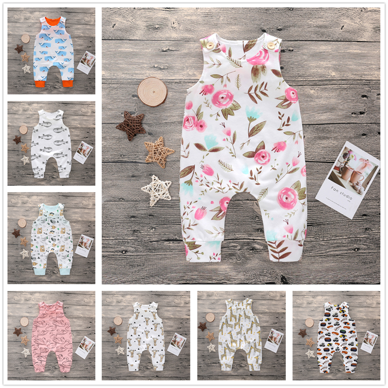 0-24M Toddler Girl Romper Newborn Boy Rompers Clothes Cotton Clothing Summer Jumpsuit Infant Pink Cartoon Giraffe Baby Playsuit summer 2017 baby kids girl boy infant summer sleeveless romper harlan jumpsuit clothes outfits 0 24m