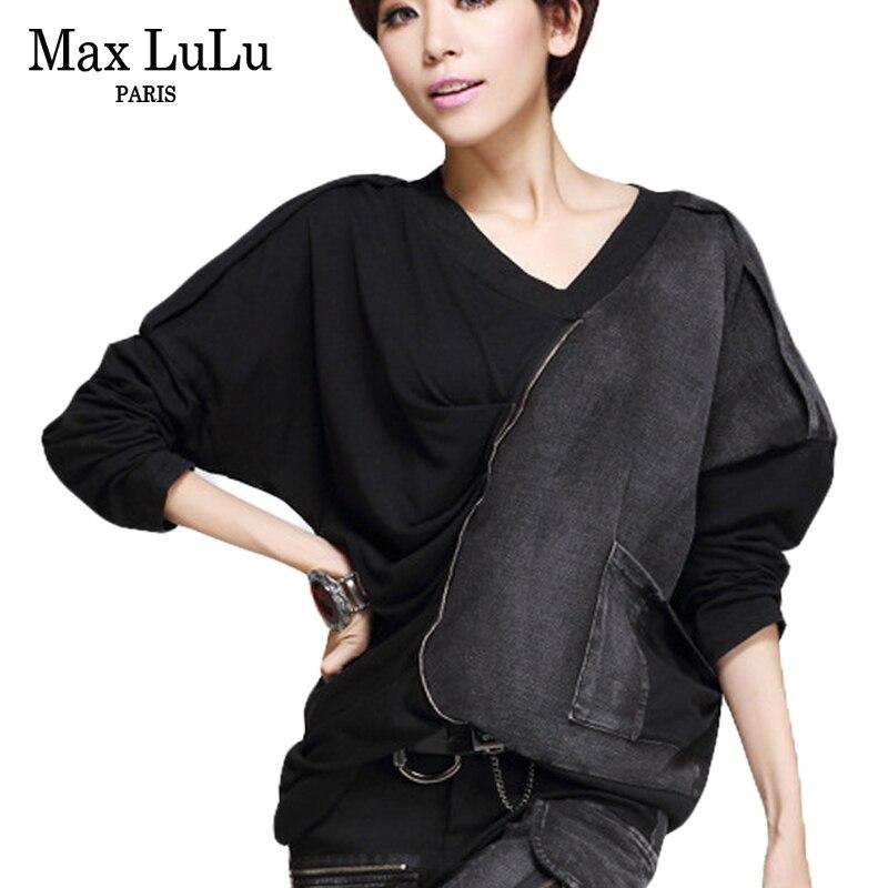 Max lulu nova moda coreano marca meninas colheita topo t das mulheres do punk t camisas de algodão mulher v pescoço tshirt harajuku camisa de grandes dimensões