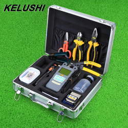 KELUSHI 24 In 1 FTTH Fiber Optic Tool Kit FC-6S Fiber Cleaver 10mW Visual Fault Locator Optical Power Meter Stripping Tool Test