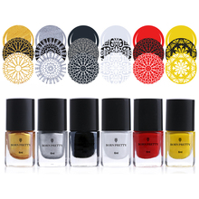 6Pcs BORN PRETTY Nail Stamping Polish Manicure Varnish Printing Polish Lacquer Nail Art Polish 6ml Nail