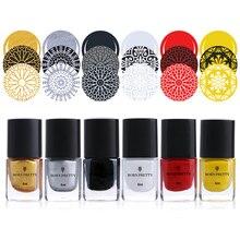 6Pcs BORN PRETTY Nail Stamping Polish Manicure Varnish Printing Polish Lacquer Nail Art Polish 6ml Nail Cuticle Oil Nail Care