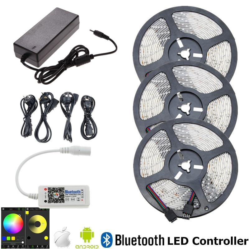 Водонепроницаемый RGB Светодиодные ленты 5 м 10 м 15 м светодиод Клейкие ленты SMD 2835 ленты + <font><b>Bluetooth</b></font> RGB контроллер + 12 В ЕС США Plug Адаптеры питания