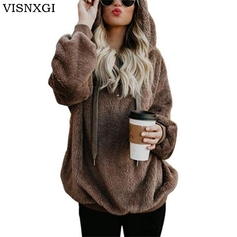 VISNXGI Women   Jackets   Winter Hooded   Basic     Jackets   Female Zipper Knitted Coat Double-sided Velvet Ladies Cardigans Feminino S-5XL