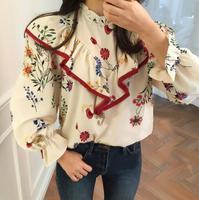 2017 גדילים סגנון אתני וינטג קצה תפירת סטנד צווארון חולצה אופנה חולצה חולצות חולצה הדפסת פרח שרוול flare aa4