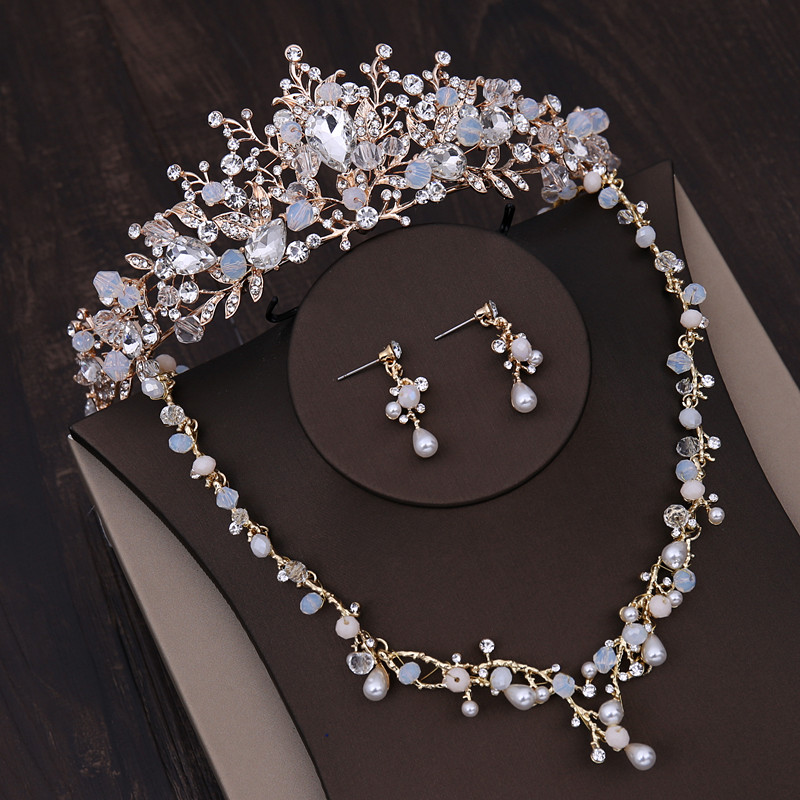 Crown Tiara Bride Wedding Accessories Korean Headdress Hair Accessories Wedding Dress Necklaces Earring Jewelry