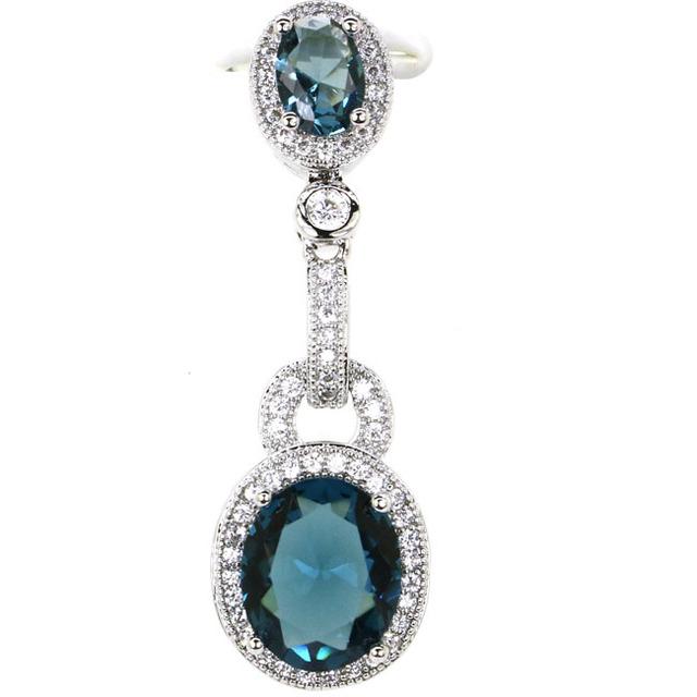 Elegant London Blue Topaz White CZ Ladies Present 925 Silver Pendant 39×12 mm
