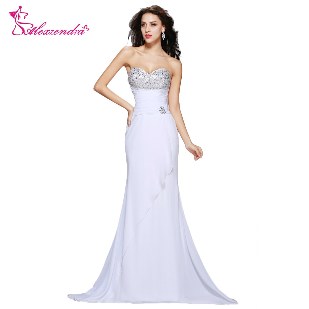 Alexzendra Beads Sweetheart Mermaid White Dress Chiffon Long Prom Dresses  Simple Party Dresses Plus ...