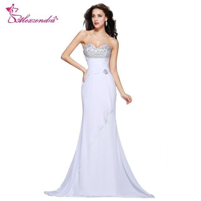 Aliexpress.com : Buy Alexzendra Beads Sweetheart Mermaid White Dress  Chiffon Long Prom Dresses Simple Party Dresses Plus Size Dress from  Reliable Prom ...
