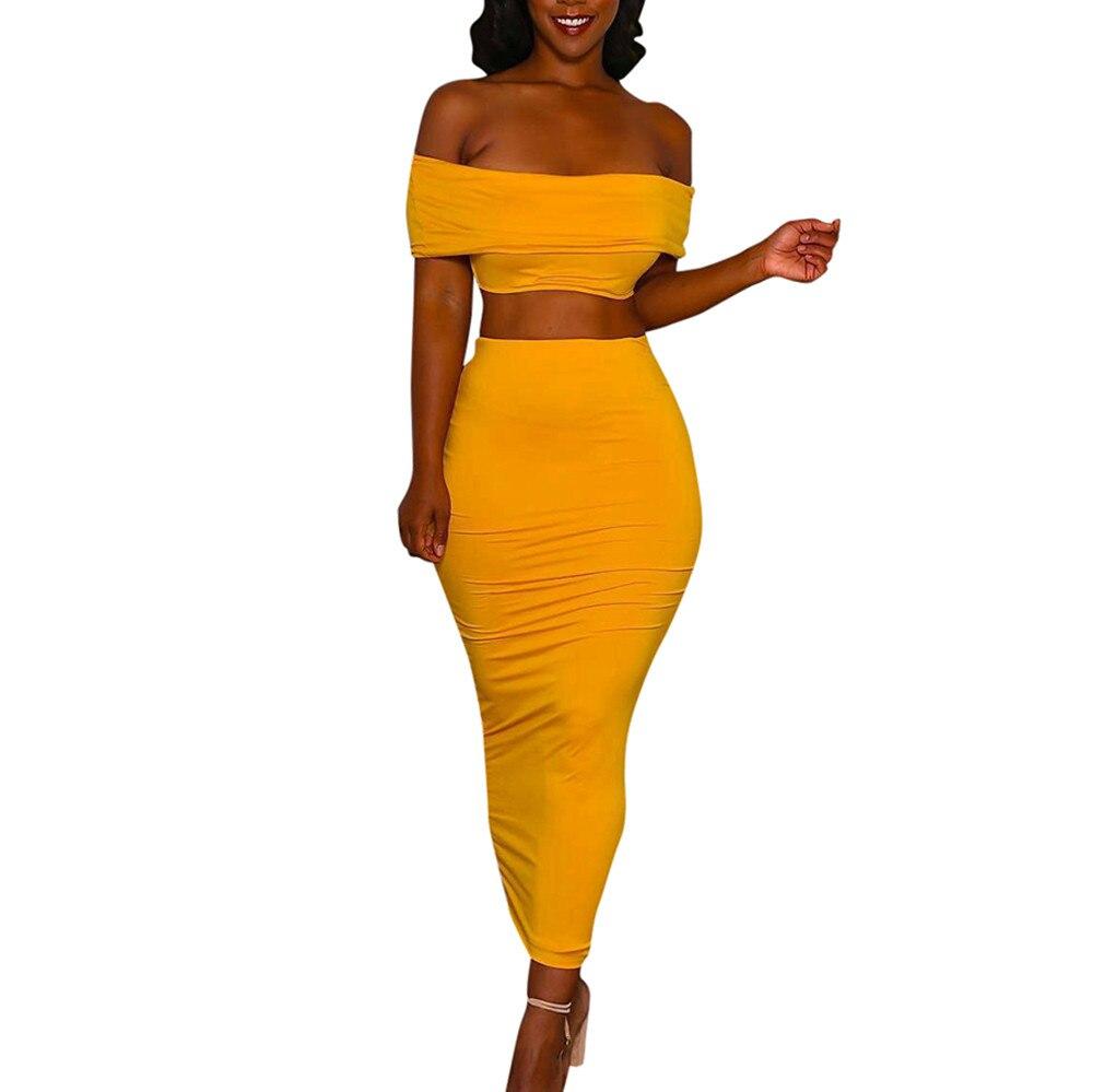 2 Stück Set Frauen Sexy Rock Set Crop Top Tank Und Lange Kleid Party Kleid Set Sommer Outfits Club Kleid Anzug 2019 26545 #11