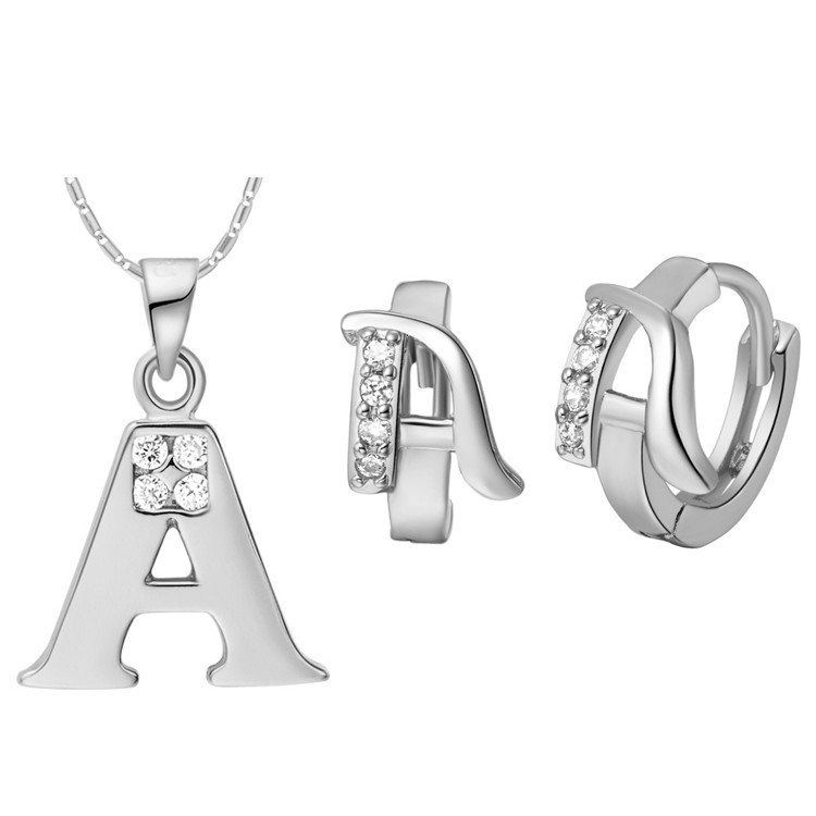 Fashion A B C D E F G H I J K L M N O P Q R S T U V W X Y Z 26 Letter Pendant Necklace Earring Crystal Jewelry White Gold Cover