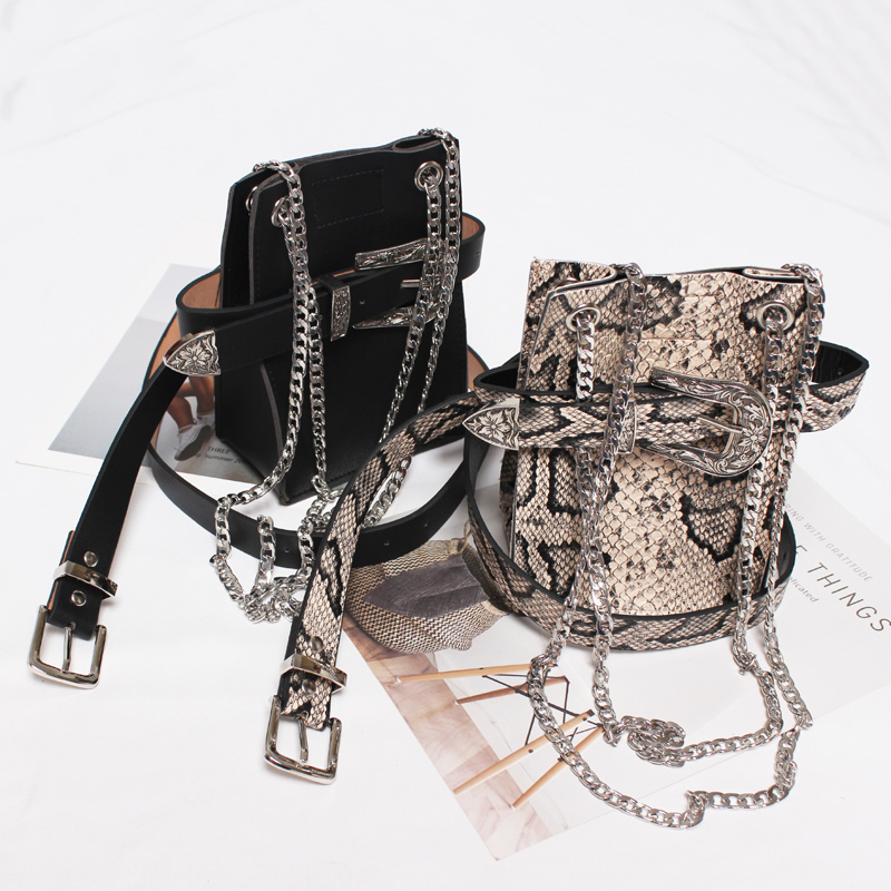 Waist Bag Women Fashion Chain Waist Pack Serpentine Belt Bag Ladies Flower Carving Buckle Fanny Pack Hot Phone Coin Purse Female