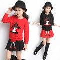 2017 New Spring Autumn Kids Girls Clothes Sets Character girl's T Shirt  Cotton Skirt Children Clothing Set Suits Roupa Infantil