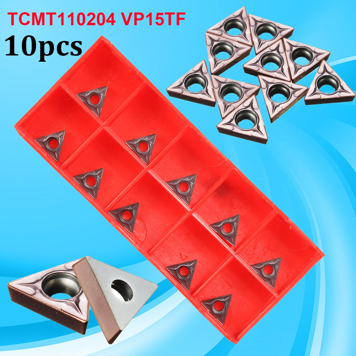 10pcs TCMT110204 VP15TF / TCMT21.51 Carbide Inserts CNC Blade Lathe Turning Tool(China)