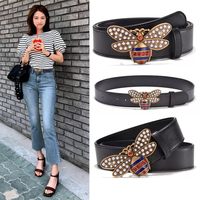 2019 New Brand Pearls Diamonds Bee Buckle Belts Women Fashion Real Leather Belt Luxury Belt Y270