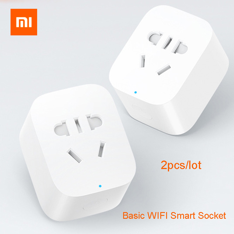 2 pçs/lote Original Xiaomi Básica de Tomada Inteligente Wi-fi Sem Fio Tomada de Controle Remoto Inteligente de Viagem Plug Power Adapter REINO UNIDO/EUA/UA/UE Plugs