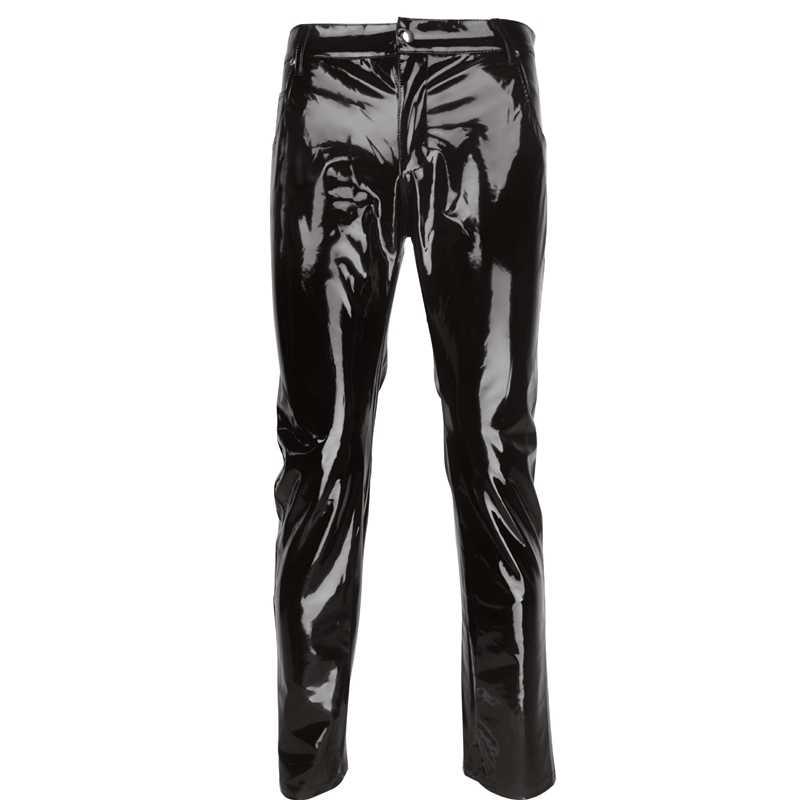 Plus Ukuran Pria Seksi Hitam Wetlook Faux Kulit Pakaian Dalam Wanita Eksotis Celana PU Lateks Catsuit Zipper PVC Tahap Clubwear Gay celana