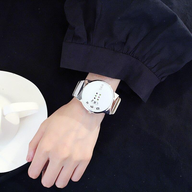 ᗔSEIZOENEN PU Lederen Quartz Horloges Zwart Wit Kleur Glas
