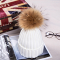 Mink Fur Ball Cap Pom Poms Winter Hat for Women Girl 's Wool Hat Knitted Cotton Beanies Cap Brand New Thick Female Cap