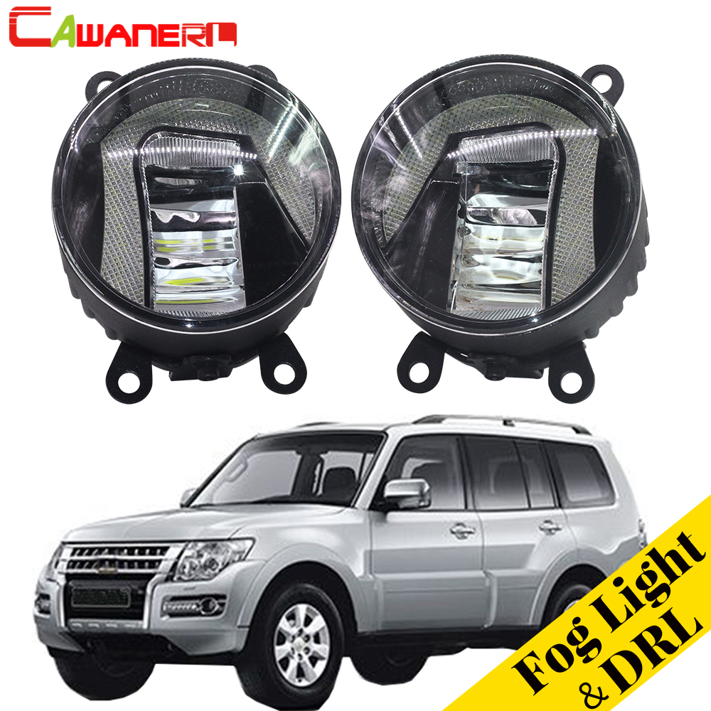 Cawanerl For Mitsubishi Pajero IV V8_W V9_W Closed Off-Road Vehicle 2007-2012 Car LED Fog Light Daytime Running Lamp DRL 1 Pair cawanerl for mitsubishi pajero iv v8