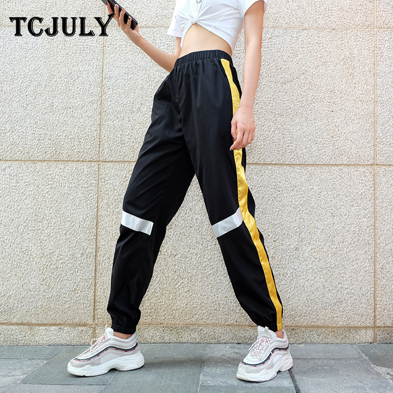 TCJULY Autumn 2018 Fashion Panelled Patchwork Casual Pants Ankle Banded High Waist Trousers Women Streetwear Loose Hip Hop Pants