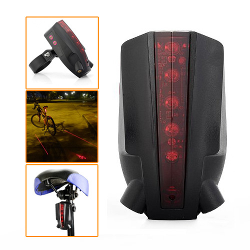 3 Pcs of (Intelligent LED Bicycle Laser Taillight Bike Rear Light with 5 LED+2 Laser Beams Logo Projection Version) 5 pcs of p