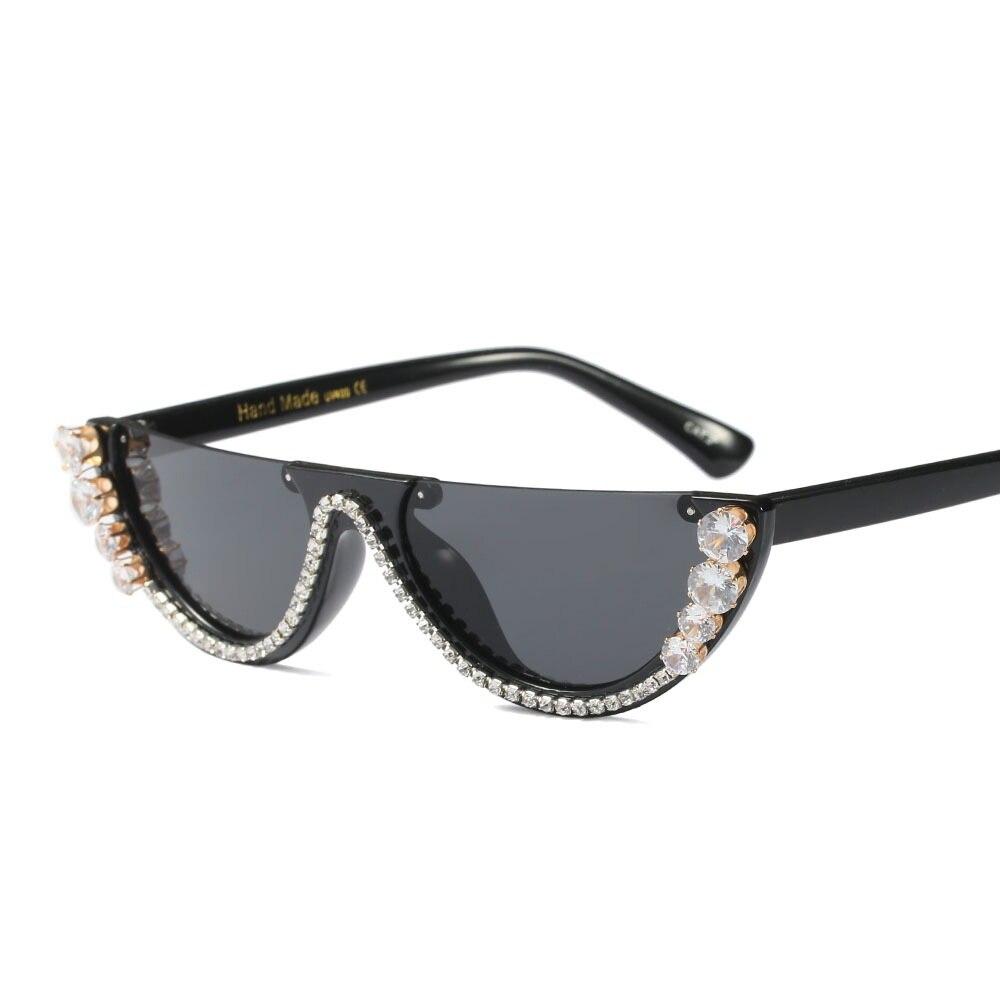 1cd5536ff1 SOLO TU Fashion Semi-Rimless Rhinestone Women Sun Glasses Brand Designer  Luxury Personality Cosy Shades Half Sunglasses Oculos