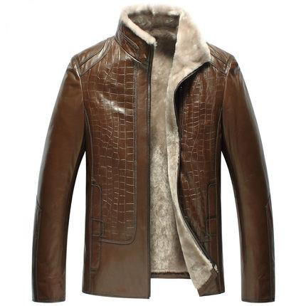 Nuevo patrón de piel de una hombre hombre piel de oveja de cuero con un párrafo corto ropa hombre WXN009