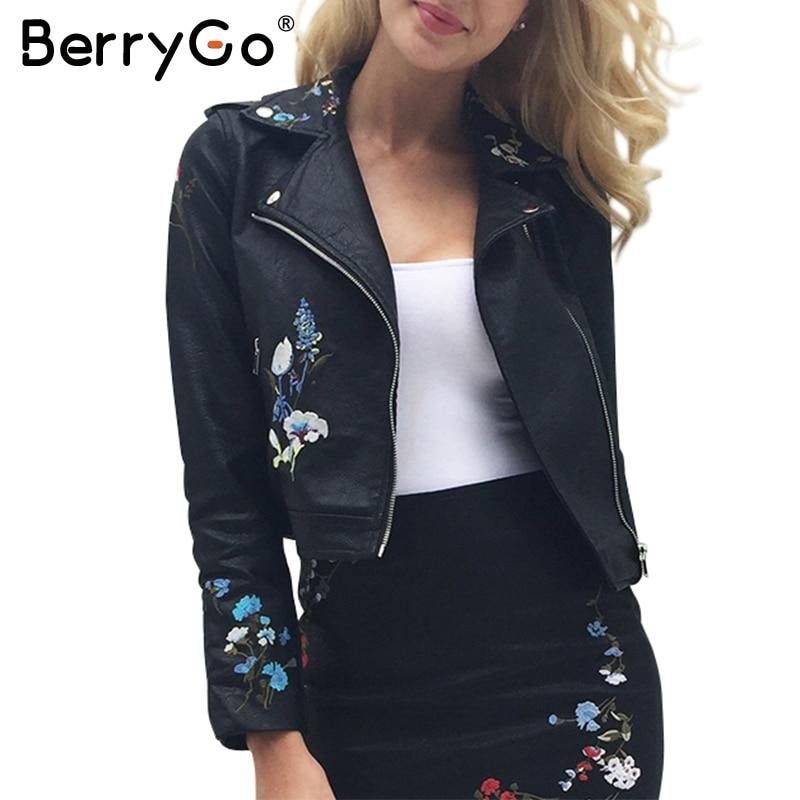 € 22.13 51% de réduction|BerryGo broderie faux cuir manteau PU moto cuir veste femmes manteau 2017 vêtements d'extérieur automne mode dames en cuir