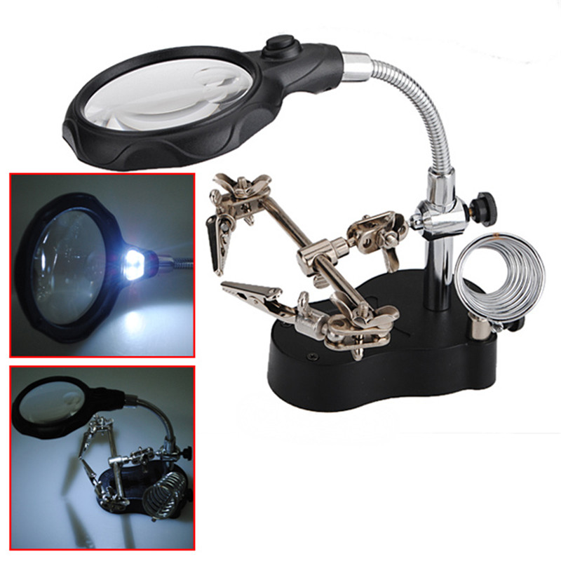Best Promotion 3.5x 12xLED Helping Hand Stand Clip Magnifier Loop Tool Clamp Magnifying Repair Loupe Watch Repair Tool
