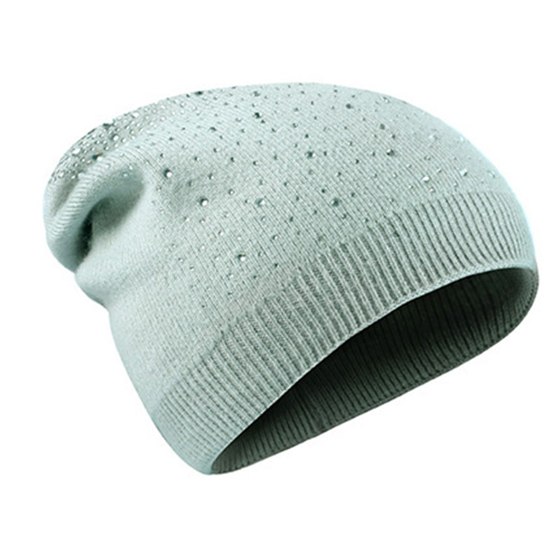 Winter Autumn   Beanie   Hats Women Soft Knitting   Skullies     Beanies   Hat Female Fashion Rhinestone Hat Cap
