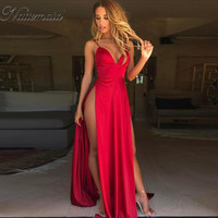 NATTEMAID 2017 Sexy Side Split Maxi Dress Solid Sexy Deep V Neck Backless Evening Party Elegant