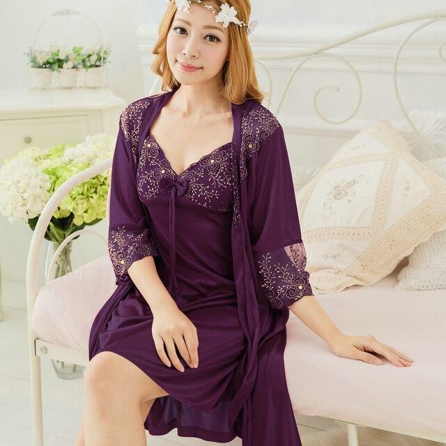 Free shipping women lace long nightdress robe sets bathrobe Sleepwear nightgown 2016 Spring summer violet  White red Y428