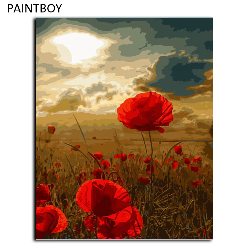 PAINTBOY Poppy Flower DIY Oil Painting By Numbers Framed Pictures Digital Canvas Oil Painting Home Decor Living Room G448