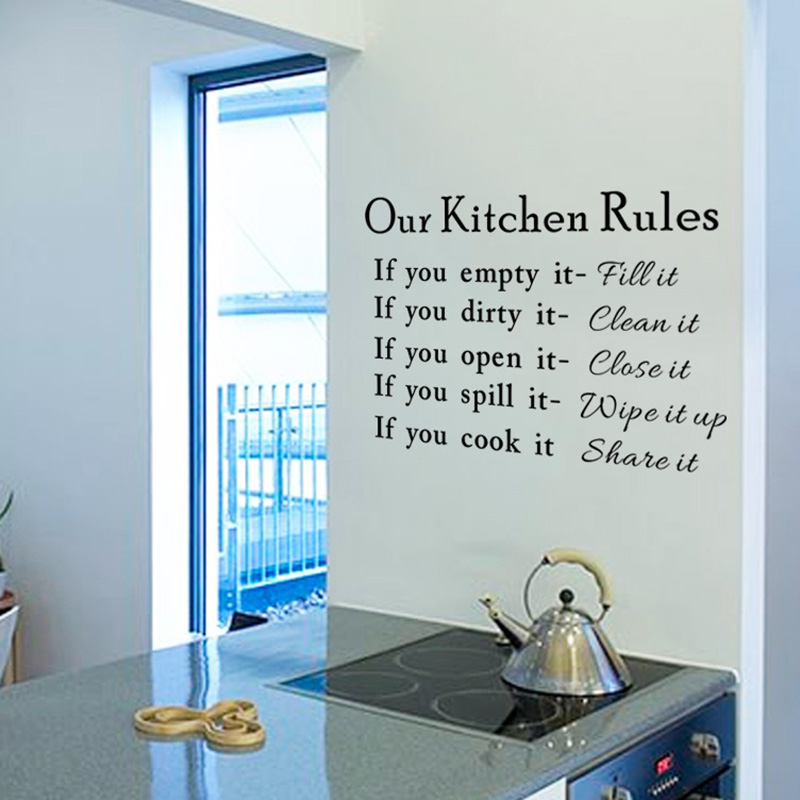 Kitchen Rules Living Room Vinyl Wall Stickers Lettering Art Quote Decals Home Poster Sofa Decoration Hot Sale