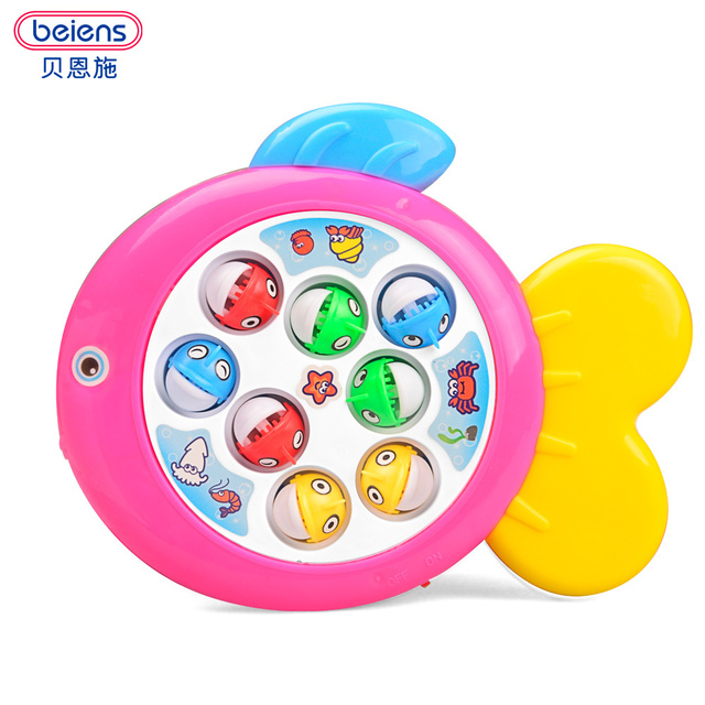 Beiens Fish Toy Plastic Electric Rotating Magnet Fishing Game Kid Children Educational Toy Puzzle Toy Electric Music Plate Game