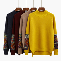 Half Downneck Female Winter Sweater Shirt When The Korean Version Of The New Thick Loose Sweater