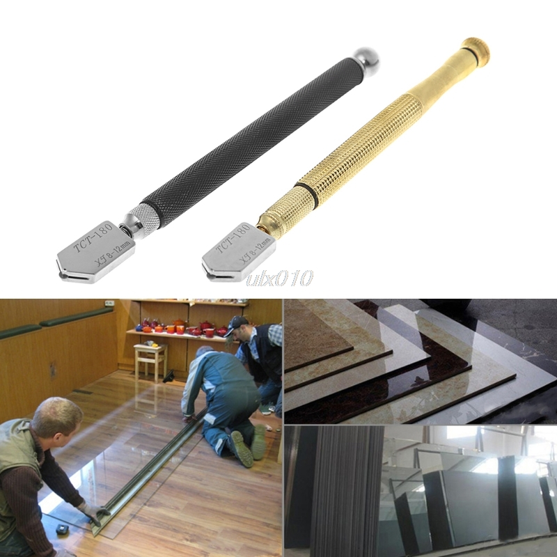 Steel Blade Oil Feed Glass Cutter Cutting Tool Diamond Tip Antislip Metal Handle Roller Glass Cutter Jan Drop Ship