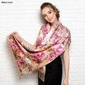 Últimas largo flor de impresión cálida mujeres pashmina verdadera terciopelo de seda de la bufanda del invierno