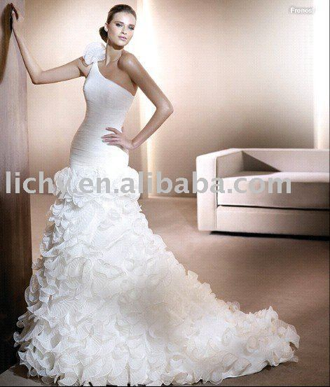 Modern Mermaid One-Shoulder Plan Chiffon Wedding Dress QW0205