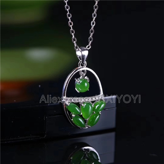 925 Sterling Silver Green HeTian Jade Beads Inl Flower Basket Elegant Lucky Pendant + Chain Necklace Fine Jewelry Charm Gift